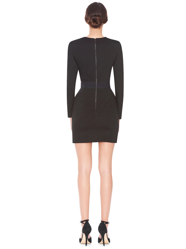 Alice + Olivia - Simone Deep V Strong Shoulder Dress