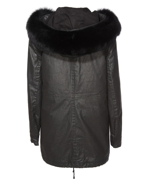 Alice + Olivia Alice + Olivia - Tandy Oversize Parka Black at Blond Genius - 4