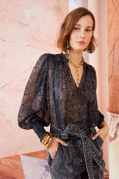 Ulla Johnson - Anita Blouse in Midnight Python