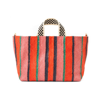 Clare V. - Bateau Tote in Petal w/ Poppy, Navy & Mint Opal Woven Stripes
