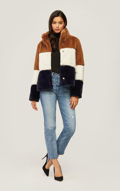 Soia & Kyo - Bea Faux Fur Coat in Multicolor Color-Block