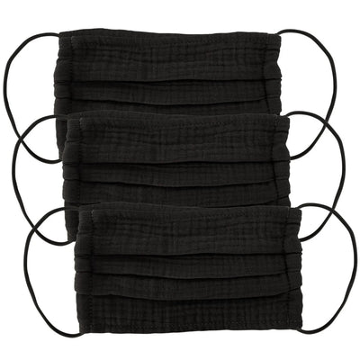 Kitsch - Cotton Face Mask 3pc Set in All Black