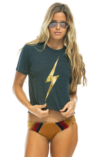 Aviator Nation - Bolt Metallic Boyfriend Tee in Charcoal/Metallic Gold