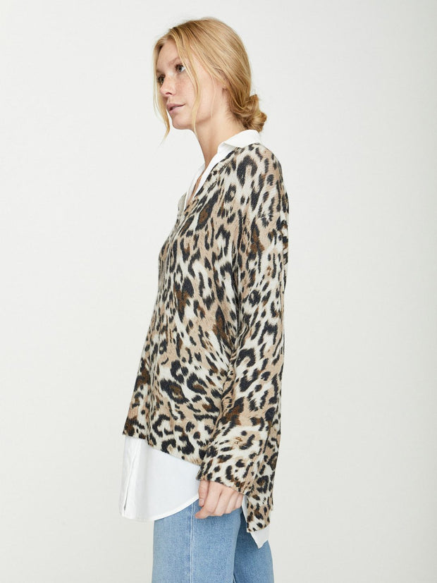 Brochu Walker - Printed Layered V-Neck in Leopard Combo