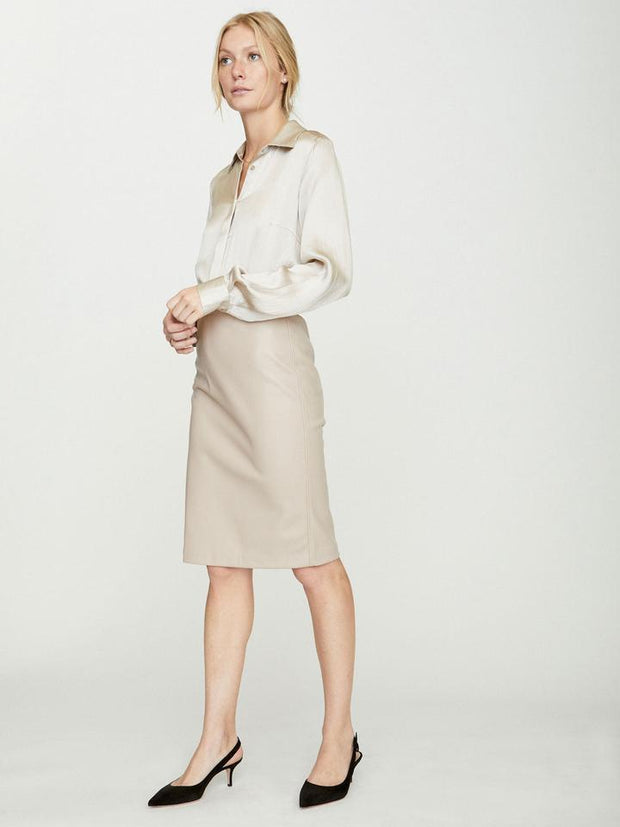 Brochu Walker - The Drew Leather Skirt in Nude