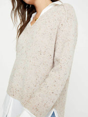 Brochu Walker - V-Neck Layered Pullover in Nude Multi w/ White