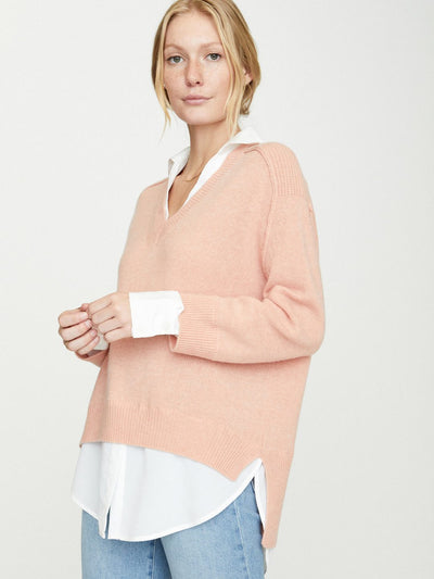 Brochu Walker - V-Neck Layered Pullover in Petra Coral w/ White