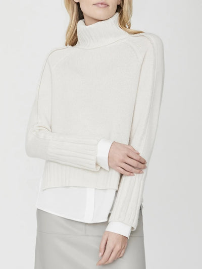 Brochu Walker - Jolie Fringe Layered Looker Turtleneck Sweater in Linen with White