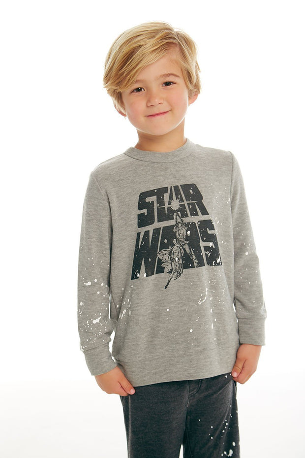 CHASER KIDS - Boys Cozy Knit Long Sleeve Crew Neck Pullover Sweater in Heather Grey