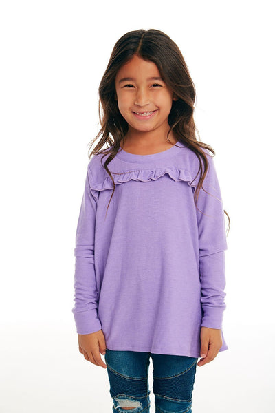 CHASER KIDS - Girls Cozy Knit Long Sleeve Ruffle Yoke Pullover in Popsicle