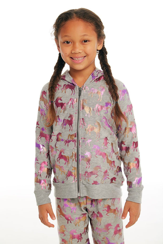 CHASER KIDS - Girls Cozy Knit Long Sleeve Zip Up Hoodie in Heather Grey