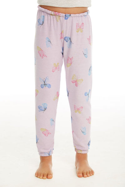 "CHASER KIDS - Girls Cozy Knit Lounge Pant ""Watercolor Butterflies"""