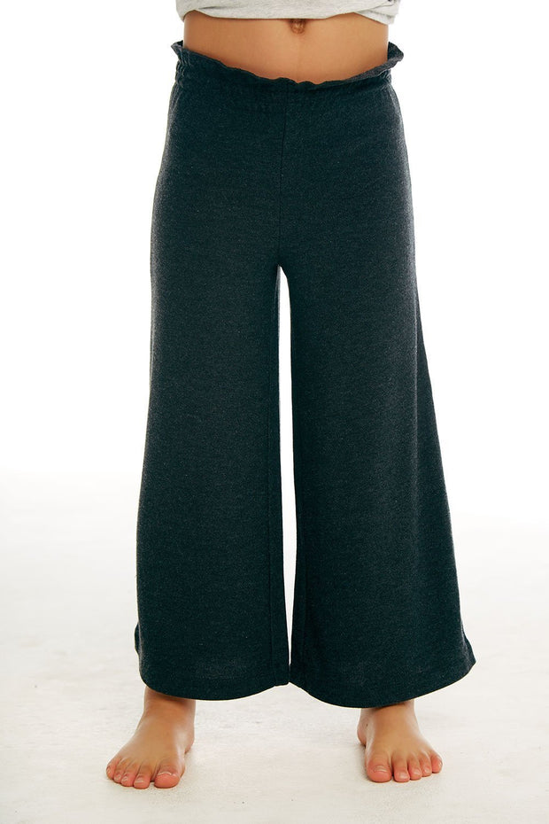 CHASER KIDS - Girls Cozy Knit Paperbag Waist Wide Leg Pant in Black