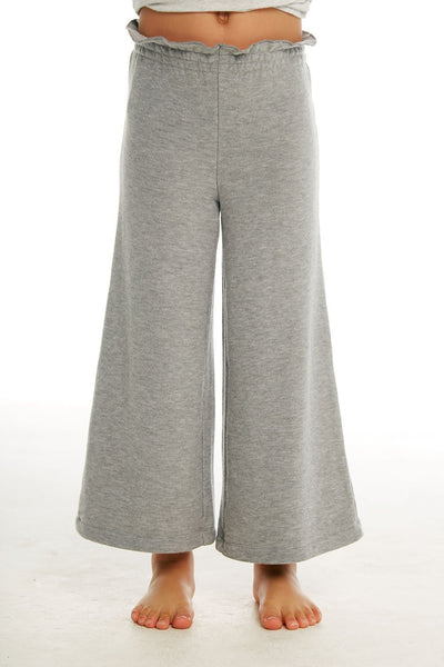 CHASER KIDS - Girls Cozy Knit Paperbag Waist Wide Leg Pant in Heather Grey