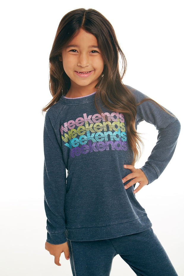 CHASER KIDS - Girls Cozy Knit Raglan Pullover in Avalon