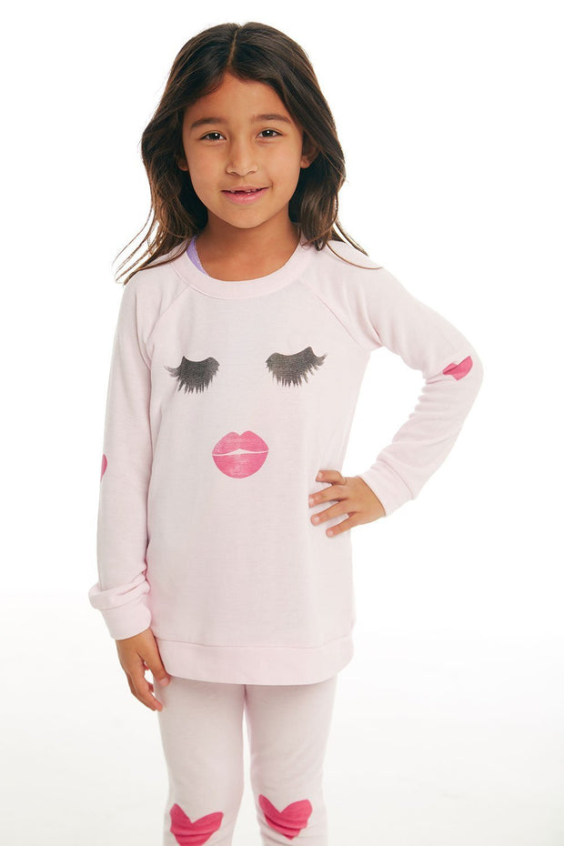 CHASER KIDS - Girls Cozy Knit Raglan Pullover in Pinky