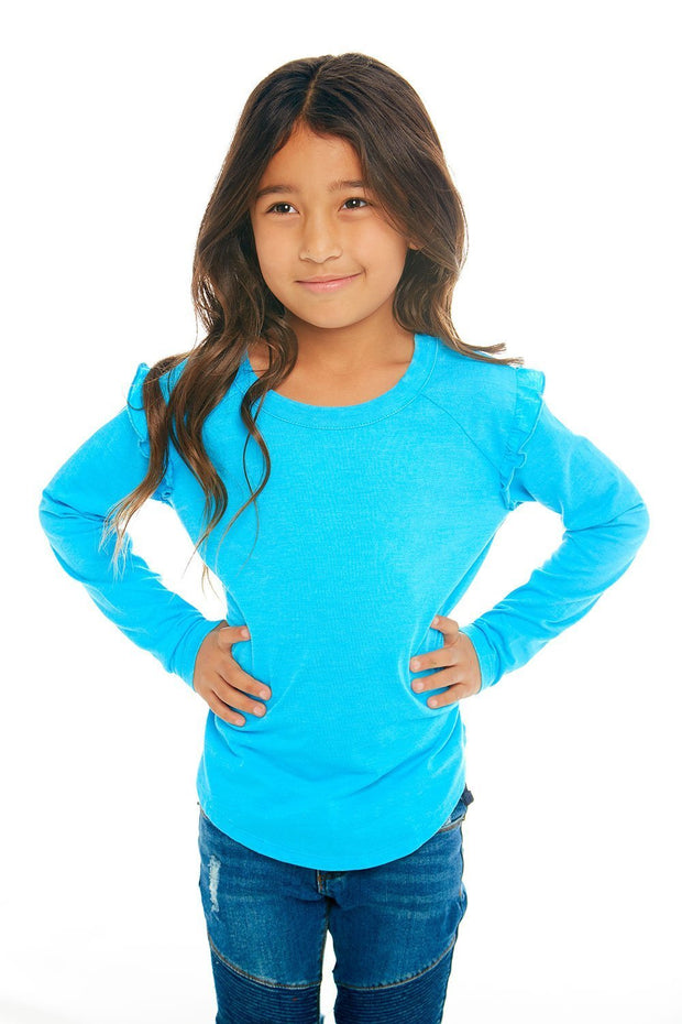 CHASER KIDS - Girls Vintage Jersey Long Sleeve Ruffle Raglan Shirtail Tee in Cabana