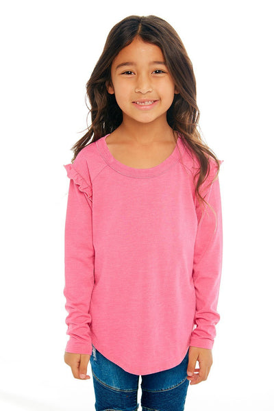 CHASER KIDS - Girls Vintage Jersey Long Sleeve Ruffle Raglan Shirttail Tee in Grapefruit