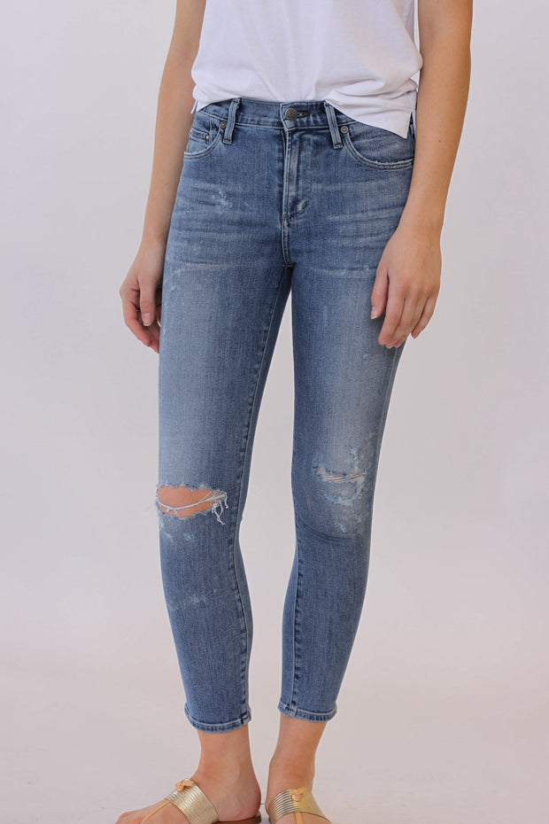 Citizens of Humanity Rocket High Rise Skinny Distressed Fizzle Crop at Blond Genius - 1