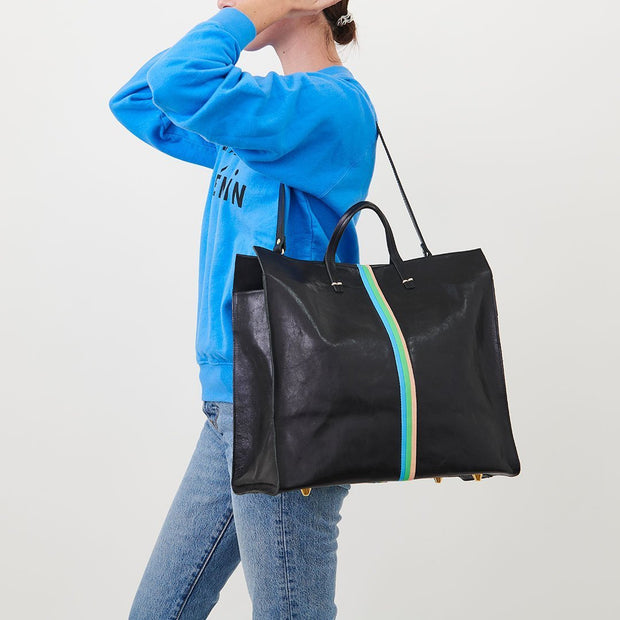 Clare V. - Simple Tote in Black Rustic w/ Pale Pink, Parrot Green & Cerulean Italina Nappa Mini Stripes