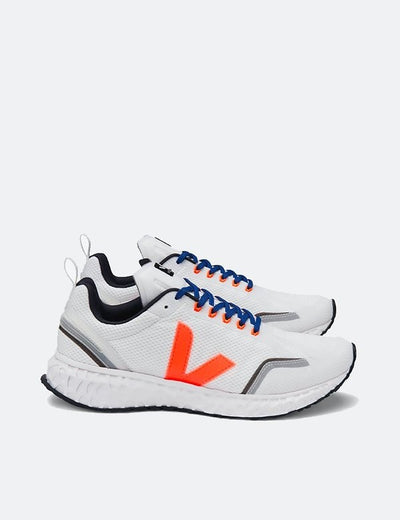 Veja - Condor Mesh Sneaker in White Orange Fluo