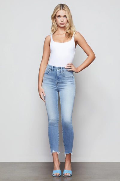 Good American Denim - Good Curves Skinny Crop Jeans with Chew in Blue440