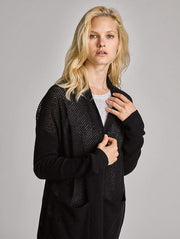 White + Warren - Curved Hem Cardigan in Black