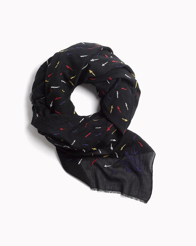 Rag & Bone - Embroidered Dagger Scarf in Red Multi