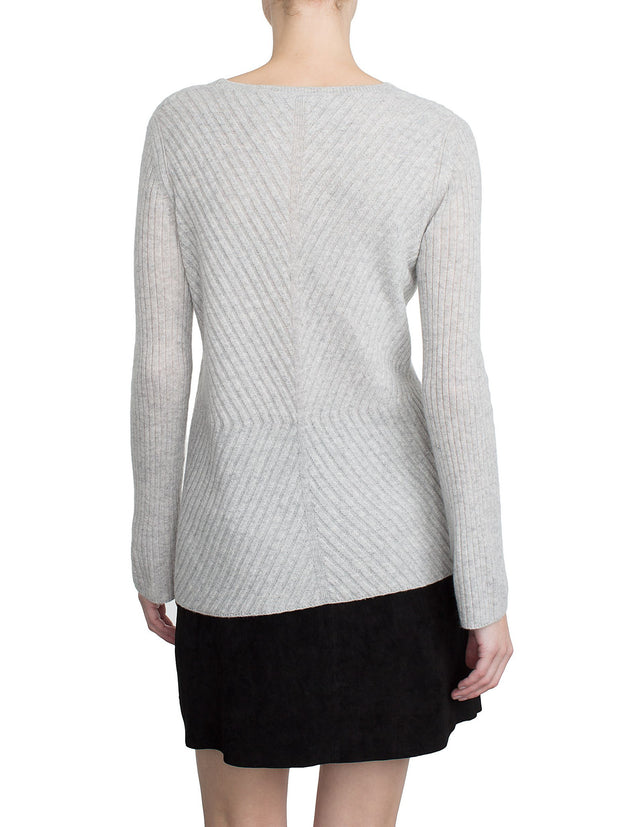 White + Warren Directional Rib Vneck Silver Heather at Blond Genius - 3