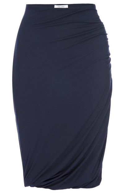 Frame - Double Shirred Skirt in Navy