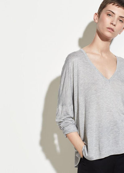 Vince - Drop Shoulder V-Neck Heather Grey