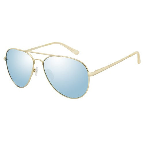 Le Specs Drop Top Brushed Gold Ice Blue Mirror Polarized