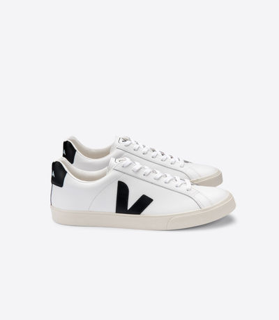 Veja Sneakers - Esplar Logo Leather Sneakers in Extra White Black