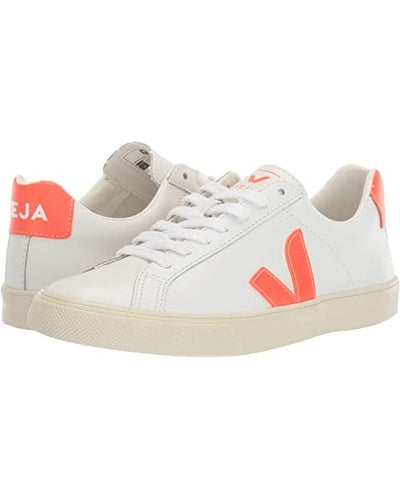 Veja Sneakers - Esplar Logo Leather Extra White Orange Fluo