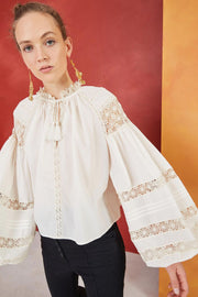ULLA JOHNSON- Gemma Blouse Blanc