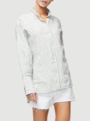 FRAME - Clean Collared Shirt in Off White Multi