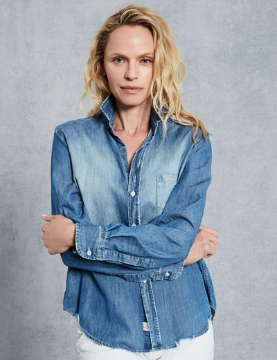 Frank & Eileen - Women's Long Sleeve Button Down Shirt in Distressed Vintage Wash