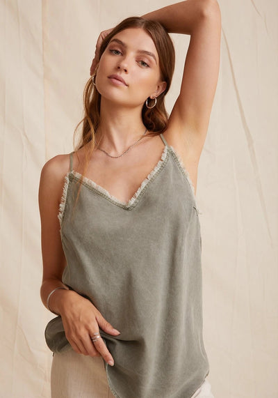 Bella Dahl - Frayed Edge Cami in Soft Army