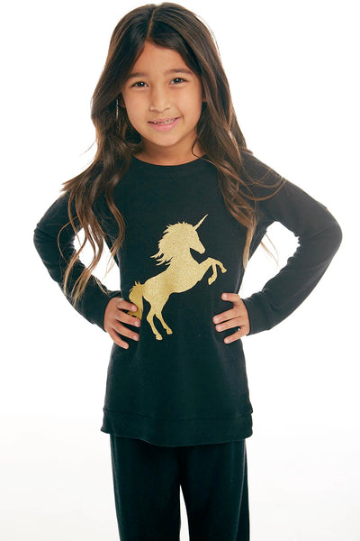 "Chaser Kids - Girls Raglan Pullover ""Golden Unicorn"""
