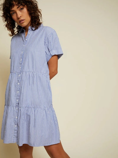 Nation LTD - Hallie Tiered Shirtdress in Banker Stripe