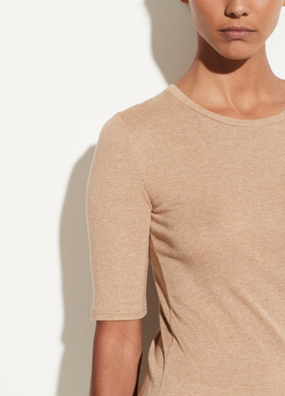 Vince - Elbow Sleeve Crew Tee in Heather Hazel
