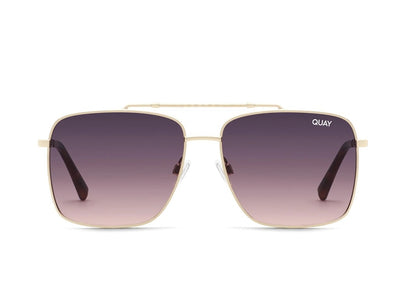Quay Sunglasses - Hot Take in Gold/Smoke to Pink Lens