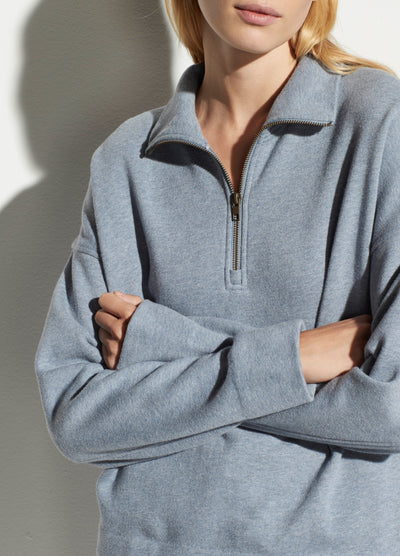 Vince - Half Zip Pullover in Heather Piero Blue