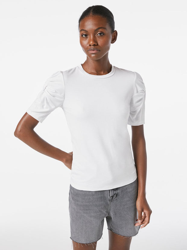 Frame - Twisted Sleeve Top in Blanc