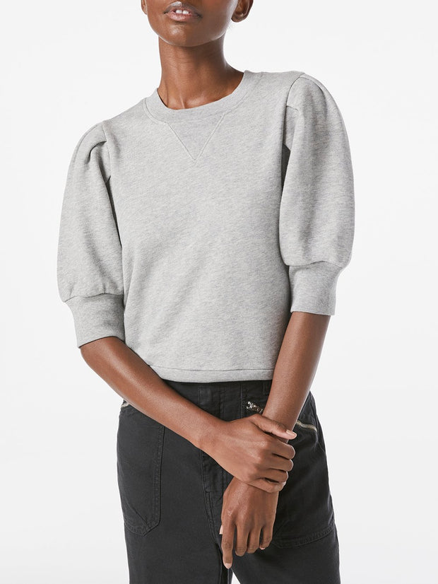 Frame - Shirred S/S Sweatshirt in Gris Heather