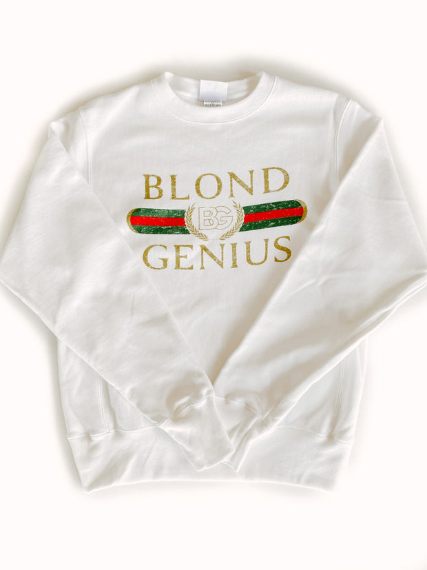 Blond Genius - Vintage 'Blond Genius' Crewneck Sweatshirt in White