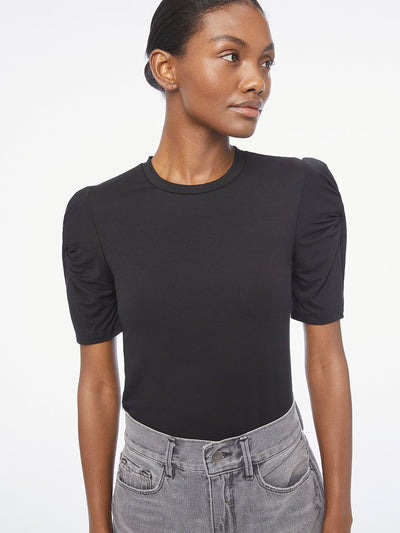 Frame - Twisted Sleeve Top in Noir