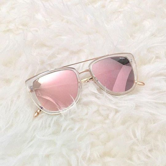 QUAY - French Kiss Clear/Rose Mirror Sunglasses