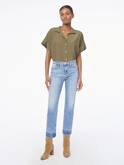 Frame Denim - Le High Straight Raw Edge Side Slit in Imogen Dip