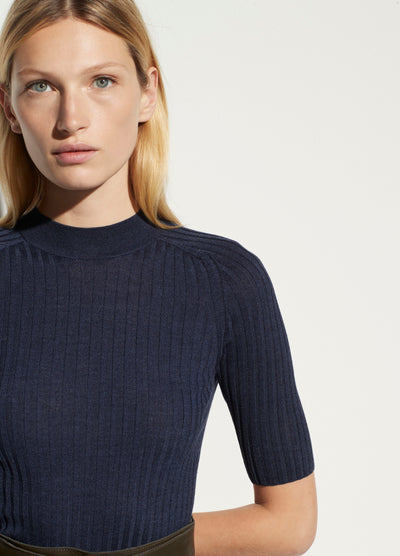Vince - Skinny Rib Mock Neck in Heather Ink